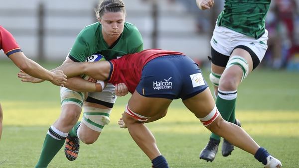 Ciara Griffin in action for Ireland against Spain on Monday