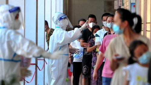 People queue for testing in Putian
