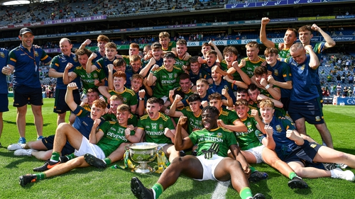 Meath celebrate their success on the Croke Park pitch