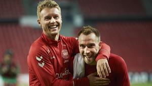 Simon Kjar and Christian Eriksen pictured in 2019