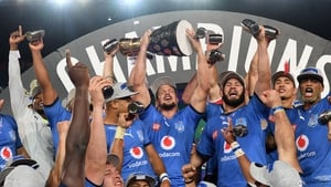 Leinster's first opponents, the Bulls, celebrate their recent Currie Cup win