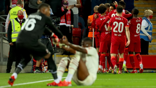 Liverpool celebrate the opening goal at Anfield