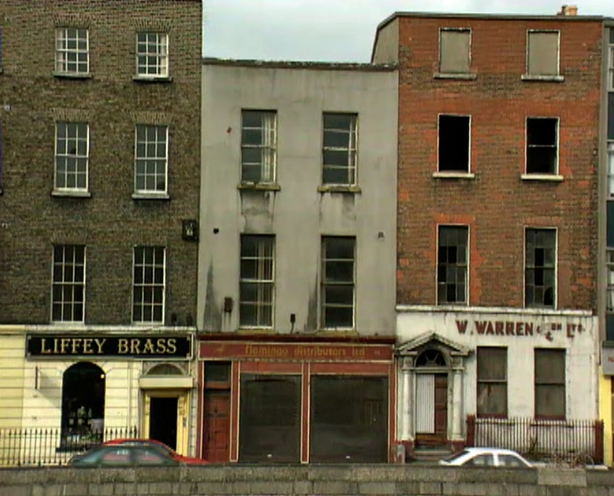 Historic buildings in need of repair on Dublin Quays (1996)