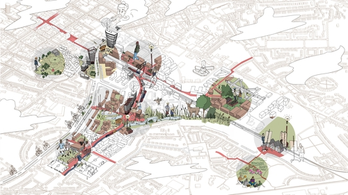 Eight new districts are to be built around the Colbert rail and bus station