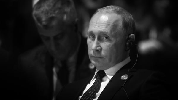 A portrait of Vladimir Putin taken on 11 November, 2018, in Paris, France