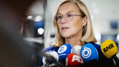 Sigrid Kaag speaking to reporters after resigning