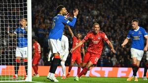Islam Slimani celebrates James Tavernier's second-half own goal