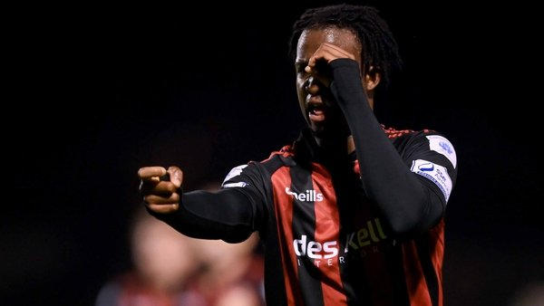 Roland Idowu celebrates after scoring on his Bohemians debut