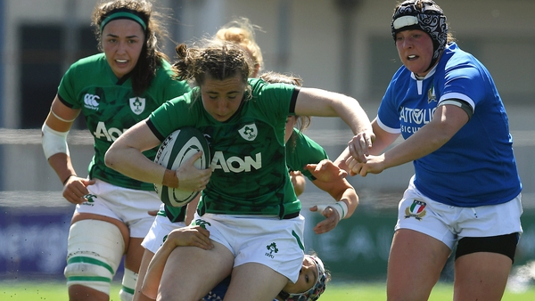Eve Higgins featured in Ireland's 25-5 win over Italy in the Six Nations in April