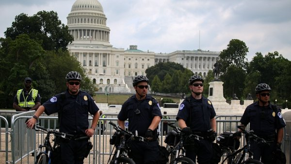 Police patrol at the 'Justice for J6' rally in Washington, DC