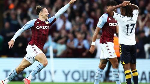 Matty Cash celebrates scoring his first Villa goal