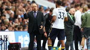 Rafael Benitez on the sideline watching Everton collapse against Aston Villa