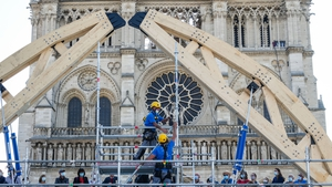 Efforts to secure its structure included reinforcing the fire-damaged vaults with giant wooden arch-shaped frames