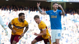 Motherwell's Kaiyne Woolery celebrates with Mark O'Hara after he makes it 1-1