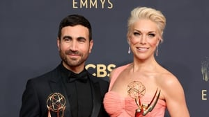 Brett Goldstein and Hannah Waddingham with their Emmy Awards for their performances in Ted Lasso