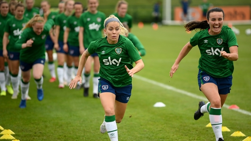 Denise O'Sullivan and Niamh Farrelly in training as part of the squad for the match