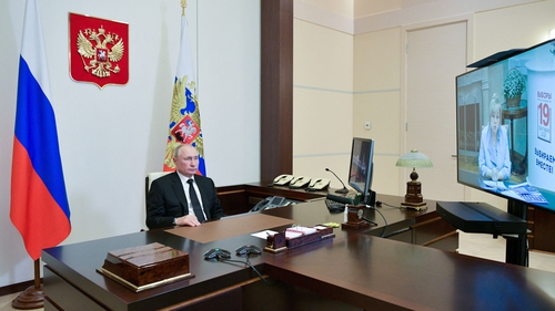 Vladimir Putin speaks with the head of the election commission Ella Pamfilova in a video link meeting today