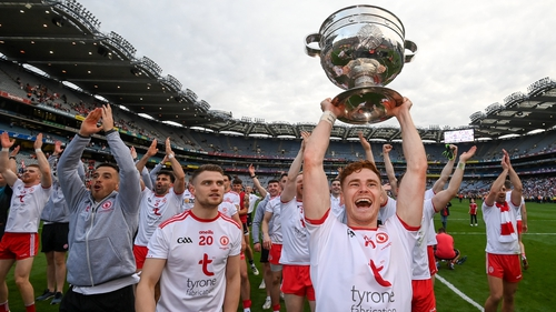 Conor Meyler celebrates with the Sam Maguire Cup