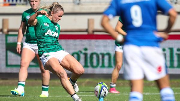 Stacey Flood kicks a penalty against Italy on Sunday