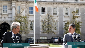 European Commissioner for Economy Paolo Gentiloni and Minister for Finance Paschal Donohoe in Dublin (Pic: RollingNews.ie)
