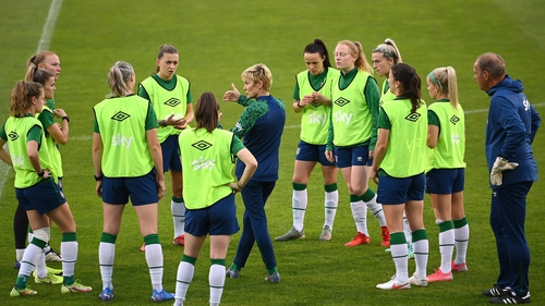 Irish manager Vera Pauw speaks to her players at a training session on Monday
