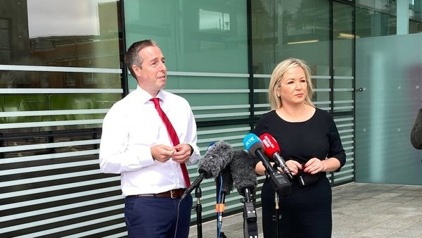 Paul Givan and Michelle O'Neill speaking to reporters outside Royal Victoria Hospital in Belfast today