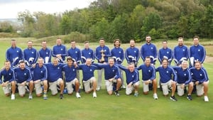 Team Europe players and caddies pictured at Whistling Straits