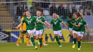 Lucy Quinn, left, celebrates after scoring Ireland's first goal