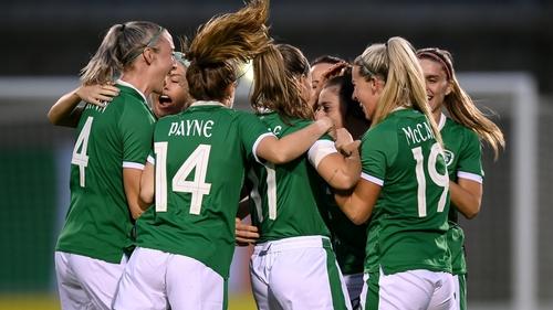 Ireland celebrate the opening goal at Tallaght Stadium