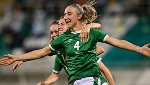 Louise Quinn celebrates her goal at Tallaght Stadium