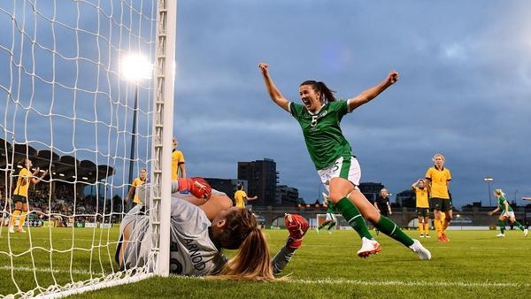 Niamh Fahey celebrates as Denise O'Sullivan's deflected shot goes into the back of the net as the Republic of Ireland beat Australia 3-2