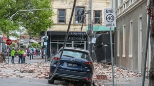 Debris on Chapel Street in Melbourne after the earthquake