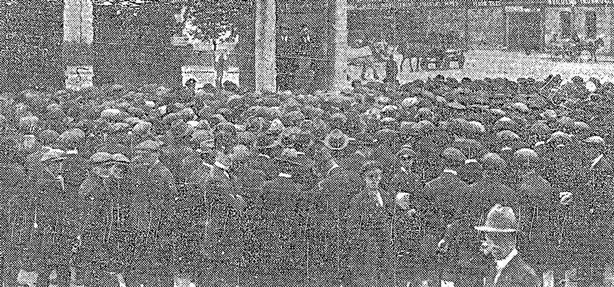 Century Ireland 214 - A meeting of unemployed people at Liberty Hall in September 1921 Photo: Freeman's Journal, 24 September 1921