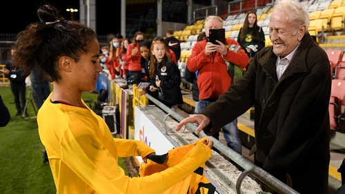 Australia's Mary Fowler meets her grandfather, Kevin Fowler from Ballymun, after the game in Tallaght