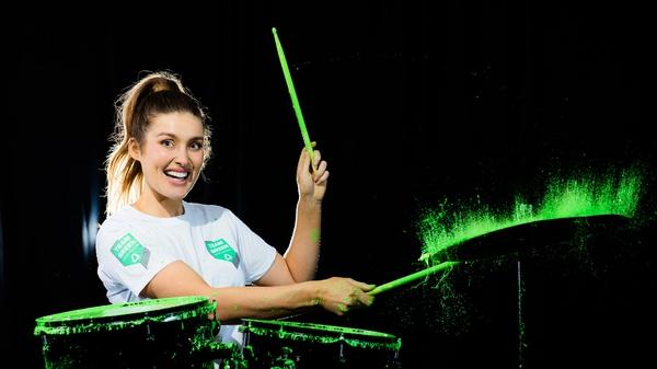 Repak Team Green Ambassador Roz Purcell drumming up new habits. Photo: Naoise Culhane