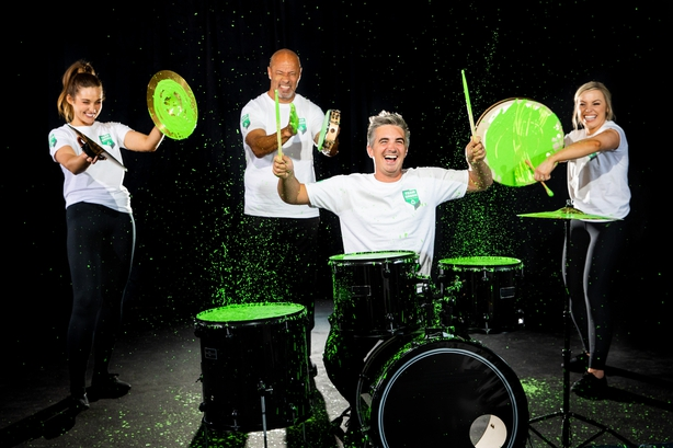 Repak Team Green Ambassadors from left Roz Purcell;Paul McGrath;Donal Skehan andAnna Geary, drumming up new habits  Pic:Naoise Culhane
