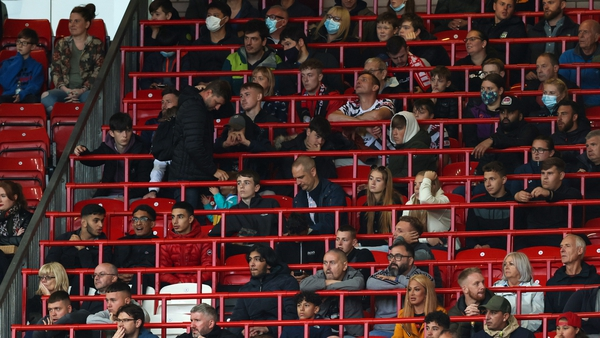 Manchester United in the safe standing area during a pre-season friendly game in July