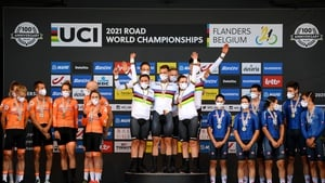 Tony Martin and Germany celebrate on the top step of the podium