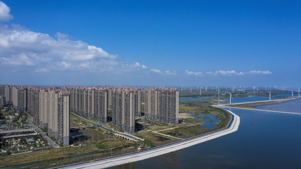 Apartment buildings at China Evergrande Group's Life in Venice real estate and tourism development in Qidong in China