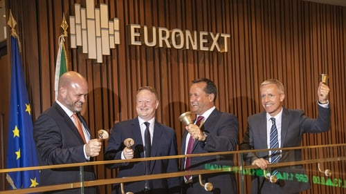 Patrick McClughan, Corre Energy's CCO, Keith McGrane, CEO, Darren Patrick-Green, Executive Director and President and Stuart Livingstone, Group Operations Director as the company starts trading on Euronext Dublin