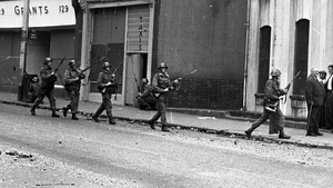 British soldiers pictured patrolling the Bogside area of Derry in 1969