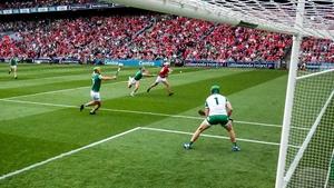 Cork's Shane Kingston rifles to the net against Limerick