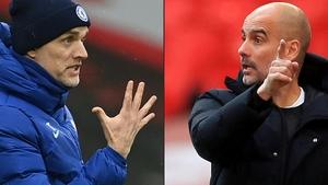 Chelsea manager Thomas Tuchel (L) and man City boss Pep Guardiola