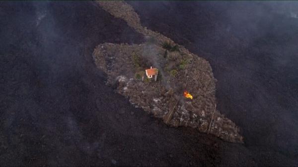 A single patch of land avoiding lava flow in La Palma, Spain