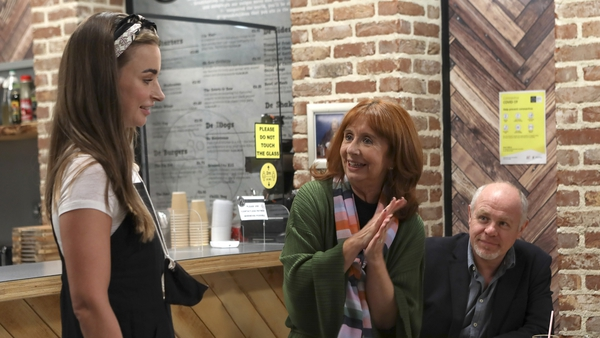 Cleo (Jenny Kavanagh), Dolores (Martina Stanley) and Pete (Enda Oates) in Sunday's Fair City
