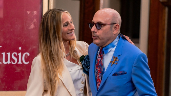 Sarah Jessica Parker and Willie Garson during filming of the Sex and the City sequel And Just Like That... in New York in July
