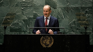 Micheál Martin speaking at the UN Assembly in New York
