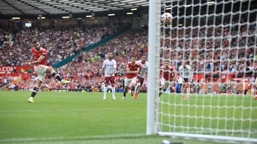 Bruno Fernandes strikes his late penalty over the bar