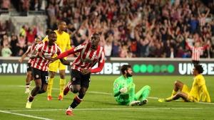 Yoane Wissa celebrates Brentford's late equaliser against Liverpool