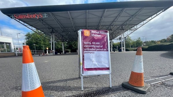 A closed Sainsbury's petrol station in Bristol, England, today